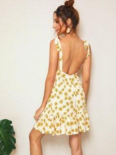 Self Shoulder Plunging Neck Open Back Dress