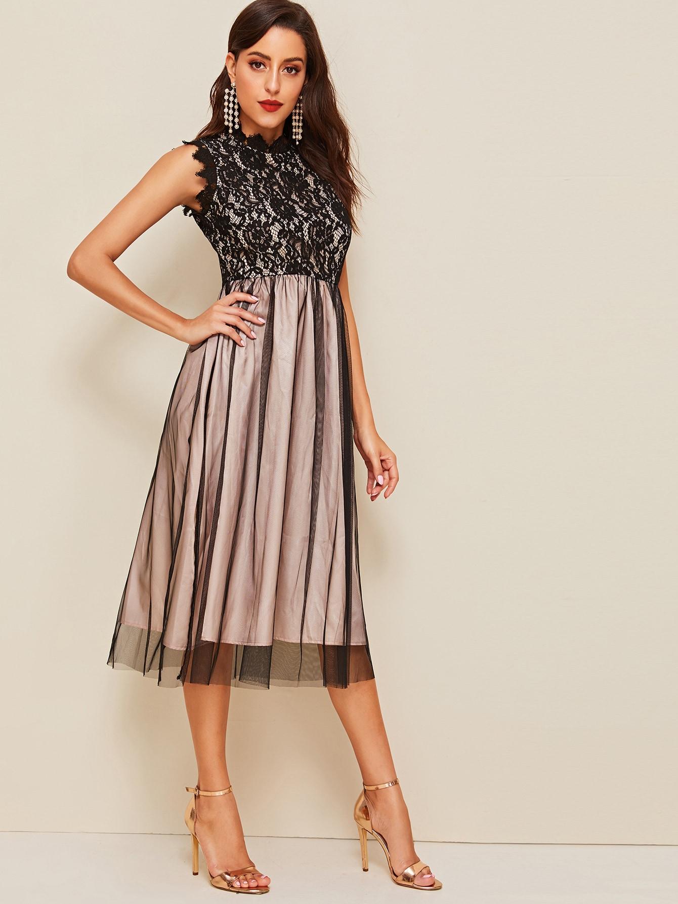 Фото - Платье с кружевом без рукавах от SheIn цвет многоцветный