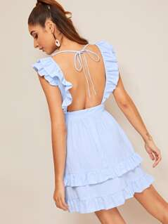 Knot Backless Layered Ruffle Trim Dress