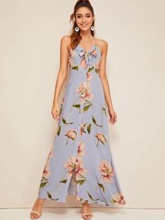 Knot Front Peekaboo Buttoned Floral Print Sundress