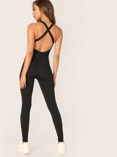 Crisscross Back Unitard Jumpsuit