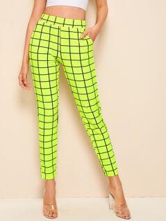 Neon Lime Elastic Waist Grid Cigarette Pants