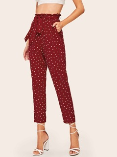 Paperbag Waist Confetti Heart Print Belted Cigarette Pants