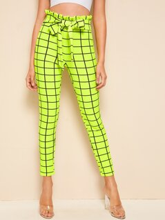 Neon Lime Paperbag Waist Self Belted Grid Pants