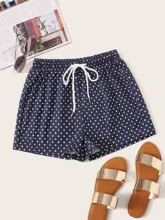 Polka Dot Drawstring Waist Shorts