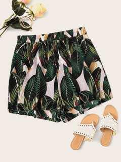 Plus Tropical Print Shorts