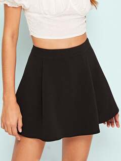 Solid Fold Pleat Textured Skort