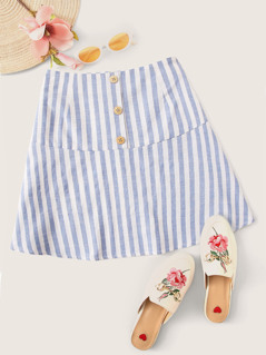 Wide Band Waist Button Front Striped Skirt