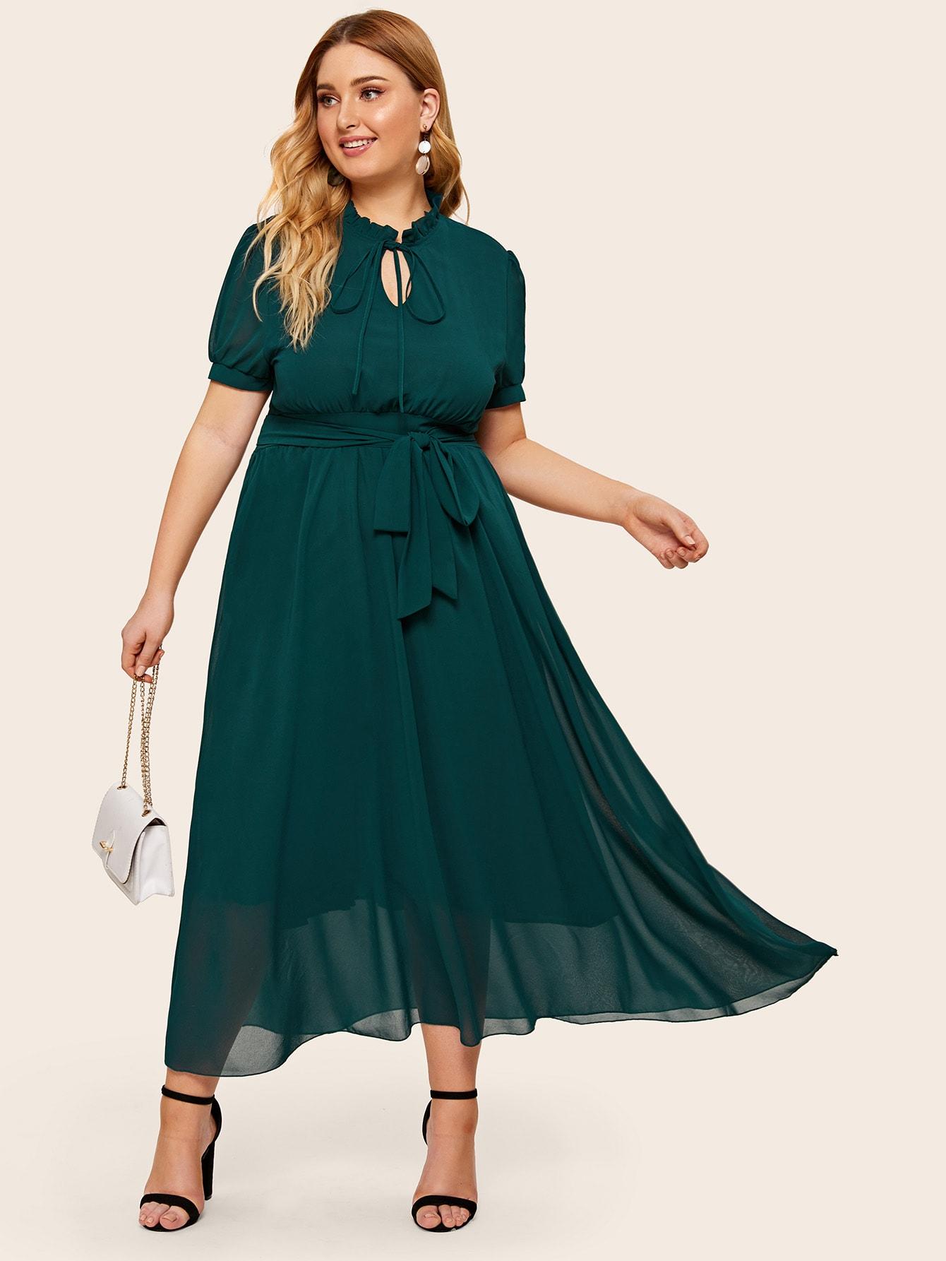 Платье с поясом и завязкой на шее размера плюс