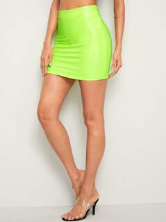 Neon Lime Leather Look Bodycon Skirt