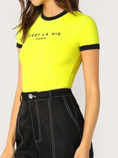 Neon Lime Slogan Print Ringer Top