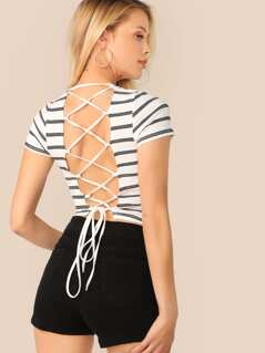 Lace-up Backless Striped Rib-knit Tee