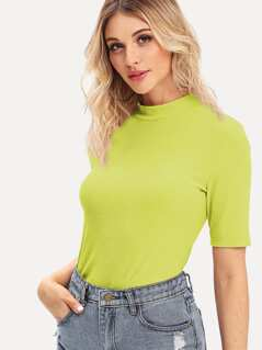Neon Lime Mock-neck Rib-knit Tee