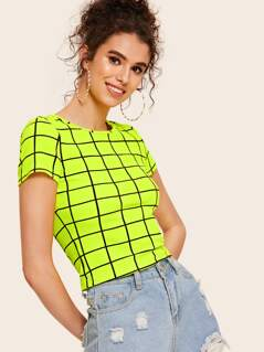 Neon Lime Grid Crop Top
