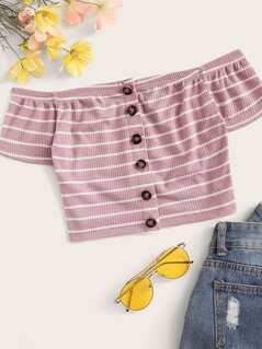 Button Front Rib-knit Striped Bardot Top