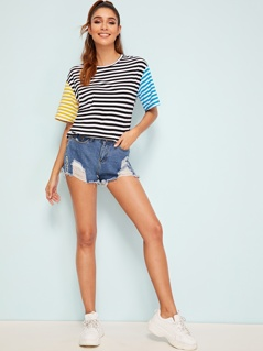 Drop Shoulder Cut-and-sew Striped Tee