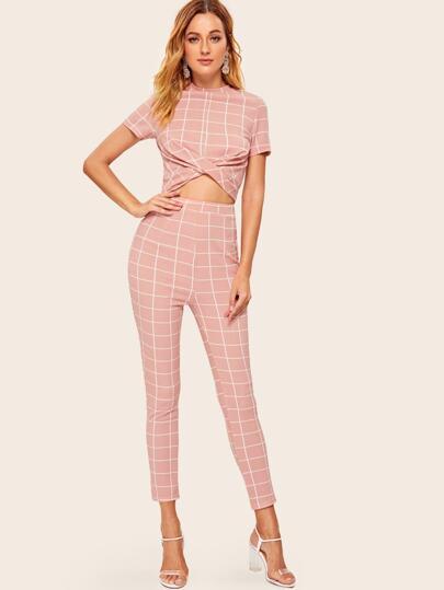 eba393d71c Grid Twist Front Top & Skinny Pants Set, Rasa B - shein.com - imall.com