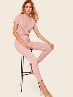 Grid Twist Front Top & Skinny Pants Set