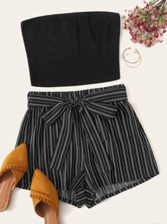 Solid Bandeau Top & Belted Striped Shorts