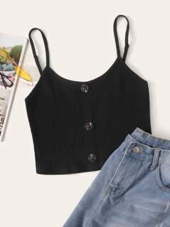 Button Front Rib-knit Crop Cami Top