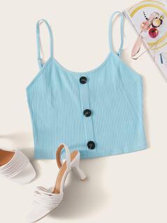 Rib-Knit Breasted Crop Cami Top