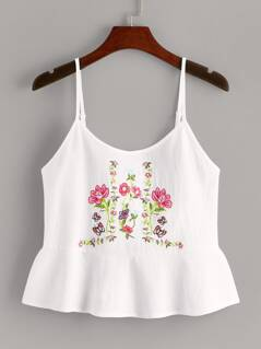 Floral Embroidered Flounce Hem Cami Top