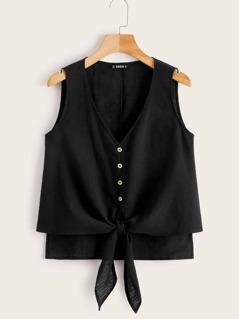 Button Tie Front High-low Hem Top