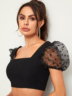 Square Neck Mesh Puff Sleeve Crop Top