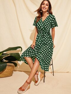 Polka-dot Ruffle Hem Wrap Belted Dress