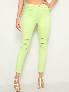 Neon Lime Ripped Detail Skinny Jeans