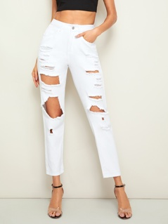 Solid Big Ripped Crop Jeans