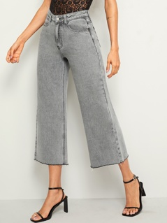 Raw Hem Crop Wide Leg Jeans