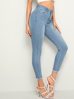 Raw Hem Bleach Wash Skinny Crop Jeans