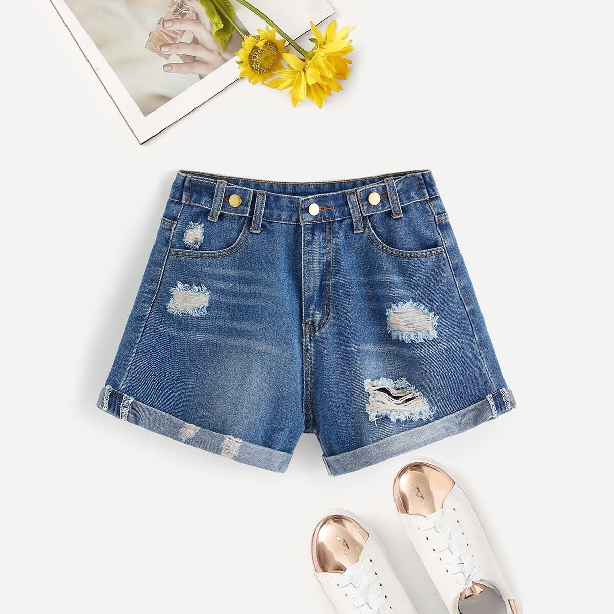SHEIN / Jeans Shorts mit Bleichen Wäsche und gerolltem Saum