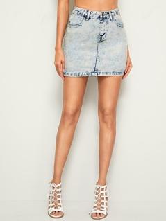 Bleach Wash Bodycon Denim Skirt