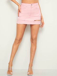 Solid Ripped Detail Bodycon Denim Skirt