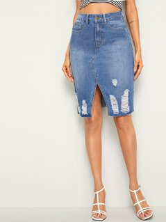 High Waist Ripped Slit Hem Denim Skirt