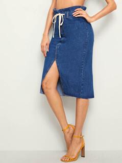 Drawstring Waist Slit Hem Midi Denim Skirt