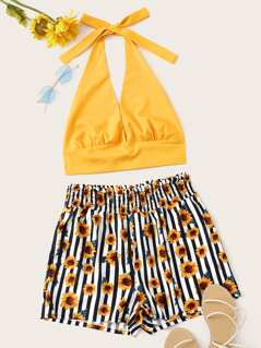 Backless Halter Top & Sunflower Print Shorts Set