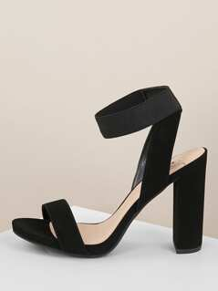 Solid Band Elastic Ankle Strap Chunky Heel Sandals