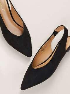 Slingback Pointed Toe High Vamp Open Heel Flats