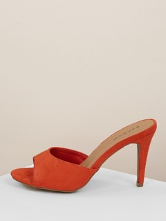 Solid Open Toe Strap Stiletto Heel Mules