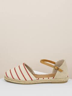 Striped Round Toe Ankle Strap Espadrille Flats