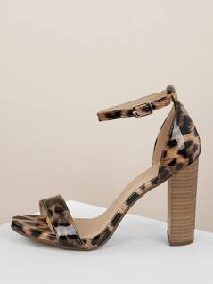 f2168cb4dd5 Patent Leopard Buckled Ankle Stacked Heel Sandals