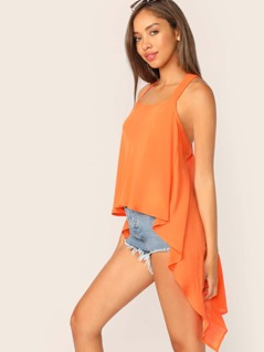 Straight Neck Handkerchief Hem Cross Back Tank Top