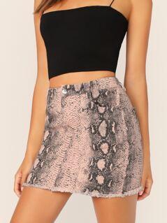 Snakeskin Zip Front Raw Hem Denim Mini Skirt