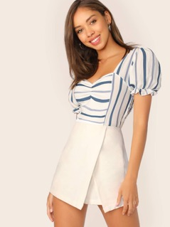 Sweetheart Neckline Puff Sleeve Stripe Crop Top
