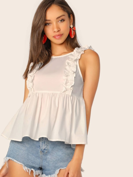 158a7523fdd Scoop Neck Ruffle Straps Sleeveless Top