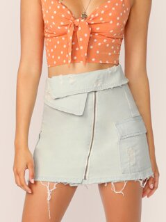 Fold Over Waist Raw Hem Distressed Denim Skirt