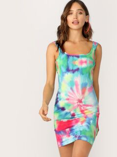 Tie Dye Backless Bodycon Tank Dress